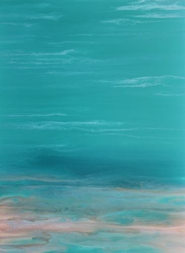 "Contemporary Beach Art, Abstract Seascape Painting, Coastal Art ""Whispers on the Water II"" by International Contemporary Landscape Artist Kimberly Conrad"