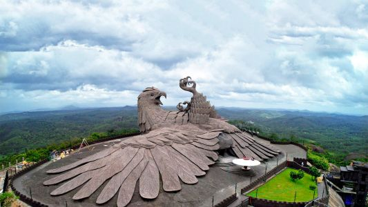 An Enormous Stylized Bird Sculpture Sprawls Atop a Mountain in India