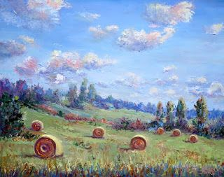 Harvested Round Hay Bales, New Contemporary Landscape Painting by Sheri Jones