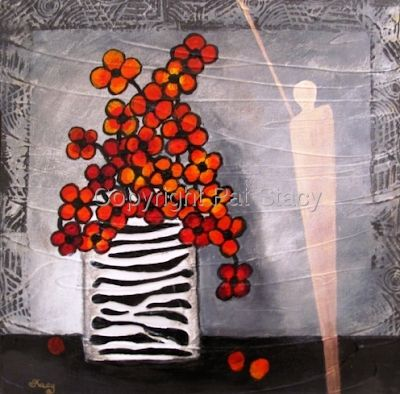 "Original Contemporary Abstract Mixed Media Still Life Flower Art ""Red in Winter"" Painting by Contemporary Arizona Artist Pat Stacy"