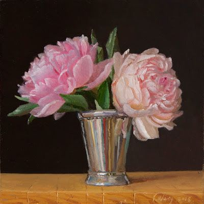Peony flower oil painting original still life contemporary realism