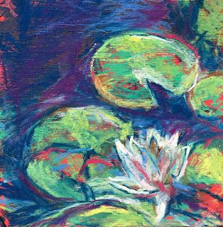 """ONE LILY - 4 1/2"""" x 4 1/2"""" pastel by Susan Roden"""
