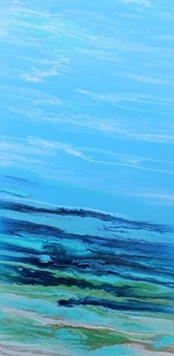 """Abstract Seascape Painting, Ocean Painting, Coastal Art """"Tropical Wave III"""" by Colorado Contemporary Artist Kimberly Conrad"""