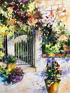 Spanish Portal..Watercolor..Texas Artist.Rae Andrews