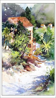 Zig Zag Stroll Into Town..Watercolor..Texas Artist..Rae Andrews
