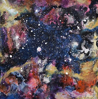 "Space Landscape, Abstract Art, Contemporary Mixed Media Painting,""Kaleidoscope Galaxy"