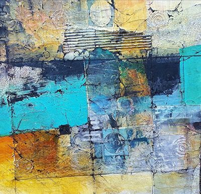"Mixed Media, Contemporary Fiber Art ""PASSING THROUGH FOUR CORNERS"" by Contemporary Artist Gerri Calpin"