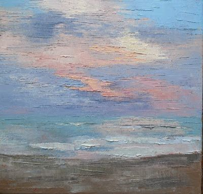 Daily Painting, Small Oil Painting, Seascape Painting, 12x12x1.5