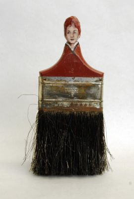 Portraits of Women Painted on the Handles of Old Paint Brushes by Rebecca Szeto