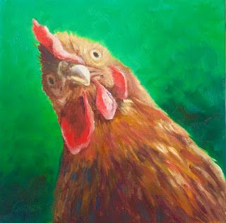 Are YOU Talking to ME? Chicken painting oil on canvas 8x8 inches