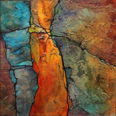 "Mixed Media Geologic Abstract , Fine Art Print ""Blue and Gold"" © Carol Nelson Fine Art"