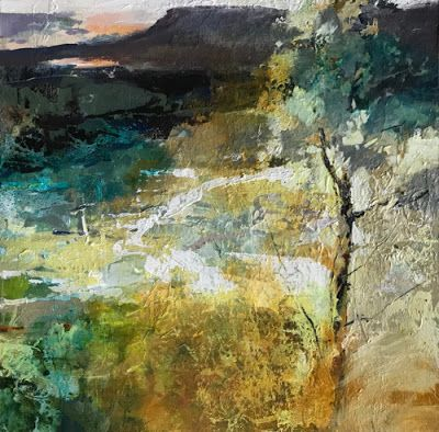 """Contemporary Abstract Landscape Painting """"Distant View"""" by Intuitive Artist Joan Fullerton"""