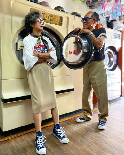 Trendy Octogenarian Couple Sports Stylish, Eclectic Garments Left Behind at Their Laundromat in Taiwan