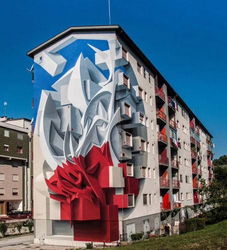 Abstract Shapes and Graffiti-Inspired Swirls Leap off the Wall in New Three-Dimensional Murals by Peeta