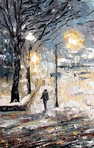 "Street Scene Cityscape Snow Storm, Fine Art Oil Painting ""Snow at Dusk"" by Texas Artist Debra Hurd"