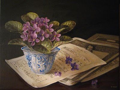 Purple African Violets in blue and white vase bowl sheet music