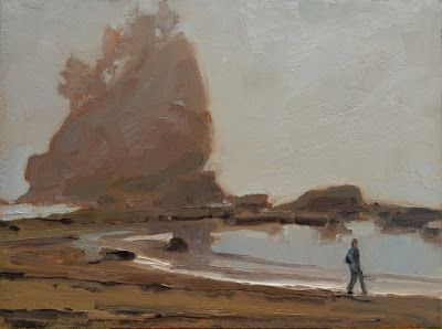 """""""Ship Wreck Rock"""" Paint the Peninsula 2018 plein air landscape painting by Robin Weiss"""