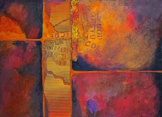 "Mixed Media Abstract Painting, ""Ticket to Ride"" © Carol Nelson Fine Art"