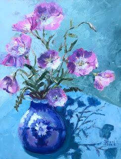 Prancing Primrose, New Contemporary Still Life Painting by Sheri Jones