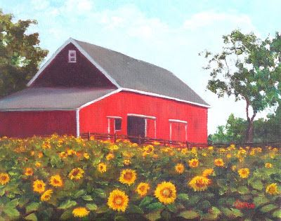 Red Barn and Sunflowers, 8x10 Oil on Canvas Landscape