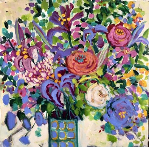 "Contemporary Expressionist Bold Still Life Flower Art Painting ""Saturday Bouquet"" by Santa Fe Artist Annie O'Brien Gonzales"
