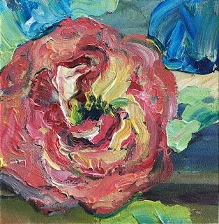 New Abstract Rose Painting by Palette Knife Artist Niki Gulley
