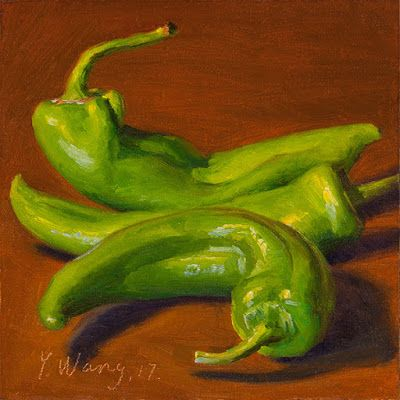 Green pepper still life painting for kitchen daily painting a day