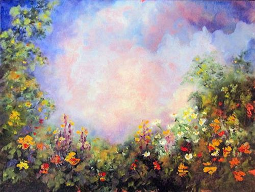 ENCHANTED GARDEN-Original Landscape Oil Painting by Marina Petro
