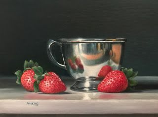Strawberries and Silver Cup - SOLD