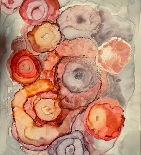 "Alcohol Inks, Abstract Painting, Contemporary Art ""The Bouquet on The Table"" by Florida Artist Mary Ann Ziegler"