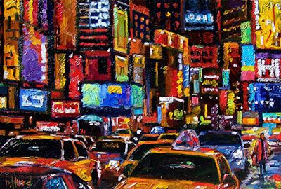 "Cityscape New York City ""Times Square-2"" Abstract Urban Paintings Fine Art Painting ""Times Square"" by Debra Hurd"