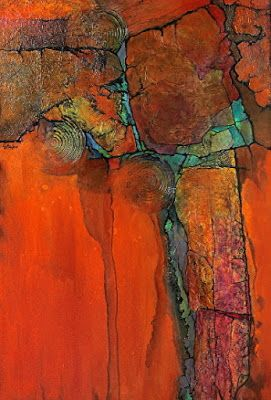 "Geologic Abstract Mixed Media Painting ""Anasazi"" by Colorado Artist Carol Nelson"