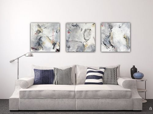 """Contemporary Abstract Expressionist Fine Art Painting Series, """"Gray and Gold"""" by Contemporary Expressionist Pamela Fowler Lordi"""