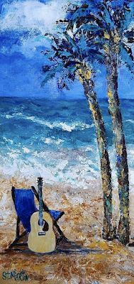 "Palm Trees, Seascape, Coastal Art Painting,Guitar ""Mind Candy"" by Florida Impressionism Artist Annie St Martin"