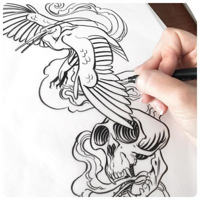 Tattoo design for a sculpture I'm designing to be produced by Metal Physics. (I do not accept commissions for tattoo designs; full explanation in the FAQ through the link in my IG bio.) metalphysic JAWCooper tombowcalligraphypen