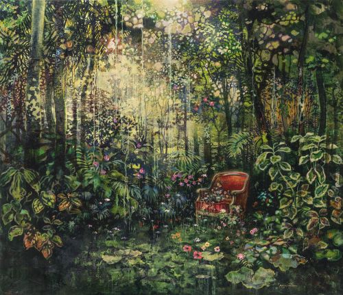 Dreamlike Paintings by Eric Roux-Fontaine Imagine Forests Filled With Domestic Trappings