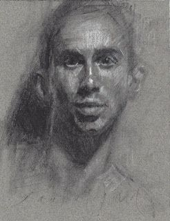 Portrait of a young man charcoal drawing