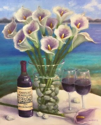 "Still Life Fine Art Oil Painting,Coastal, Virgin Islands ""Calla Lilies and Wine"" by Illinois Artist Marilyn Weisberg"