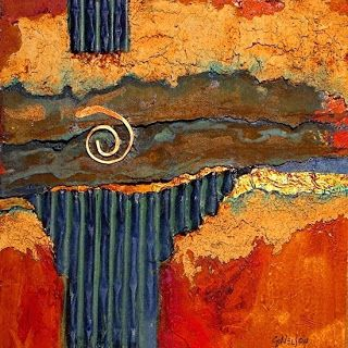 "Mixed Media Contemporary Abstract Painting ""Iron Strata 1000"" © Carol Nelson Fine Art"