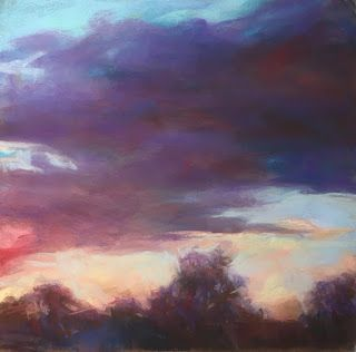 "PASSING RED - 8"" x 8"" pastel skyscape by Susan Roden"