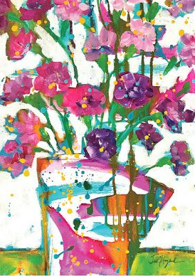 """Still Life Floral Greeting Card """"ABSTRACT FLORAL"""" by Texas Contemporary Artist Jill Haglund"""