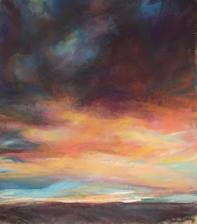 HEAVY WAS THE EVENING - pastel sunset by Susan Roden