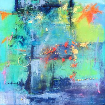"""Contemporary Mixed Media Abstract Expressionist Painting """"JANUARY TRANSFORMATION"""" by Abstract Artist Pamela Fowler Lordi"""
