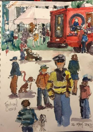 """Day 234 """"Festival Crowd"""" 12 x 9 watercolor & ink"""