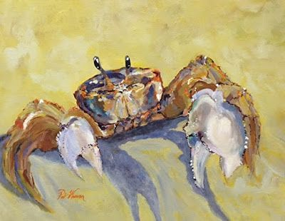 "Crab, Sea Life Art Painting ""Evening Beach Patrol"" by Georgia Artist Pat Warren"