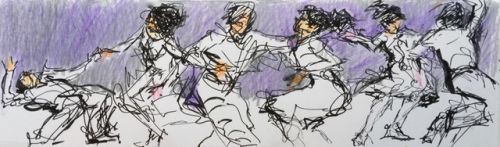 Cool Jive - original ink and crayon figurative drawing of jive dancers