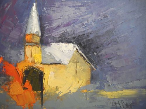 A Safe Place, Abstract Painting,Palette Knife Painting, Church Painting, Small Oil Painting, daily Painting, 6x8