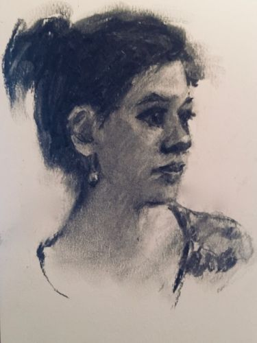 Drawing of a Young Woman - charcoal portrait drawing
