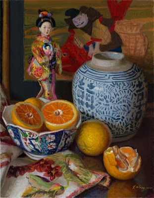 Original oil painting still life Japanese doll oriental porcelain jar orange fruit 14x18 inch, oil on stretched canvas