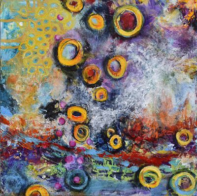 """Abstract Art, Contemporary Mixed Media Painting """"Winds of Change"""" by Santa Fe Contemporary Artist Sandra Duran Wilson"""